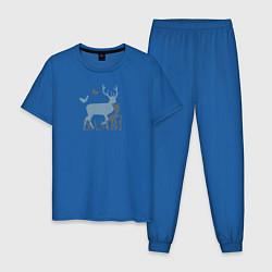 Пижама хлопковая мужская Бэмби цвета синий — фото 1