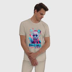 Пижама хлопковая мужская Густаво Фринг цвета миндальный — фото 2