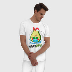 Пижама хлопковая мужская Новый Год цвета белый — фото 2