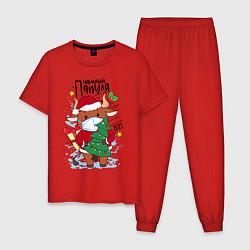 Пижама хлопковая мужская Новый Год в маске цвета красный — фото 1