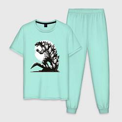 Пижама хлопковая мужская Годзилла цвета мятный — фото 1