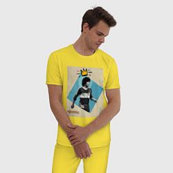 Пижама хлопковая мужская Марадона GOAT цвета желтый — фото 2