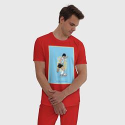 Пижама хлопковая мужская Maradona Golden boy цвета красный — фото 2