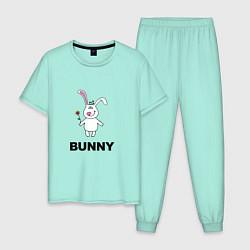 Пижама хлопковая мужская Милый зайка цвета мятный — фото 1