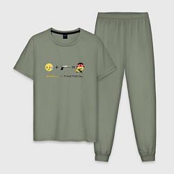 Пижама хлопковая мужская Emoji-tactical цвета авокадо — фото 1