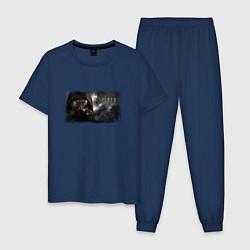 Пижама хлопковая мужская Stalker 2 цвета тёмно-синий — фото 1