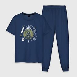 Пижама хлопковая мужская Слизерин цвета тёмно-синий — фото 1
