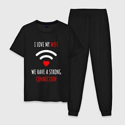 Пижама хлопковая мужская I Love My WiFi цвета черный — фото 1