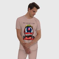 Пижама хлопковая мужская NO MANS SKY цвета пыльно-розовый — фото 2