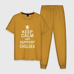 Пижама хлопковая мужская K C a support Chelsea цвета горчичный — фото 1