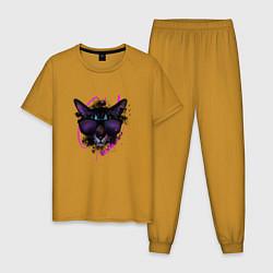 Пижама хлопковая мужская Кот цвета горчичный — фото 1