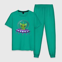 Пижама хлопковая мужская Инопланетный кот цвета зеленый — фото 1