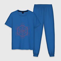 Пижама хлопковая мужская Куб метатрона геометрия цвета синий — фото 1