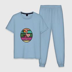 Пижама хлопковая мужская Пьющий фламинго цвета мягкое небо — фото 1
