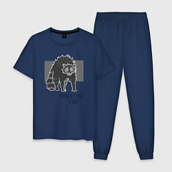 Пижама хлопковая мужская Голод не тетка, а енот цвета тёмно-синий — фото 1