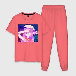 Пижама хлопковая мужская Vaporwave - Girl Сэйлор Мун цвета коралловый — фото 1