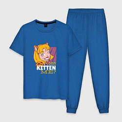 Пижама хлопковая мужская Are you KITTEN ME цвета синий — фото 1