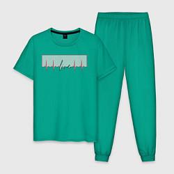 Пижама хлопковая мужская Live Биение сердце цвета зеленый — фото 1