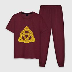 Пижама хлопковая мужская Узор цвета меланж-бордовый — фото 1