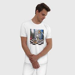 Пижама хлопковая мужская ЖИЗНЬ УДАЛАСЬ FACE цвета белый — фото 2