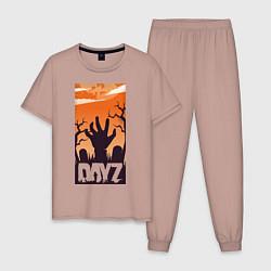 Пижама хлопковая мужская DAYZ ДЕЙЗИ Z цвета пыльно-розовый — фото 1