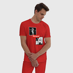 Пижама хлопковая мужская Anime Senpai цвета красный — фото 2
