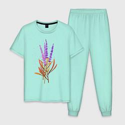 Пижама хлопковая мужская Лаванда цвета мятный — фото 1