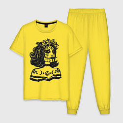 Пижама хлопковая мужская Богиня с розами и пентаграммой цвета желтый — фото 1