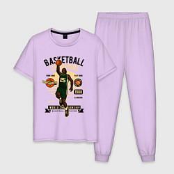 Пижама хлопковая мужская Чемпионы по баскетболу цвета лаванда — фото 1
