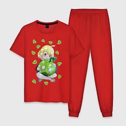Пижама хлопковая мужская Суйка цвета красный — фото 1