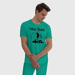 Пижама хлопковая мужская Токийский гуль Tokyo Ghoul цвета зеленый — фото 2