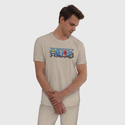 Пижама хлопковая мужская ONE PIECE ВАН ПИС цвета миндальный — фото 2