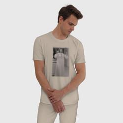 Пижама хлопковая мужская Ванда Вижен цвета миндальный — фото 2