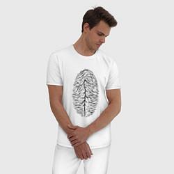 Пижама хлопковая мужская Палец цвета белый — фото 2