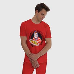 Пижама хлопковая мужская Любимая Бабуля с едой цвета красный — фото 2