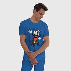 Пижама хлопковая мужская CUPHEAD цвета синий — фото 2