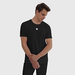 Пижама хлопковая мужская Разбитое сердце цвета черный — фото 2
