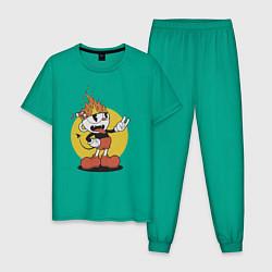 Пижама хлопковая мужская Cuphead цвета зеленый — фото 1