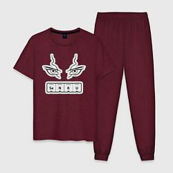 Пижама хлопковая мужская Сенку Доктор Стоун Химия цвета меланж-бордовый — фото 1
