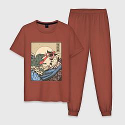Пижама хлопковая мужская Cat Kong versus Godzilla Kaiju цвета кирпичный — фото 1