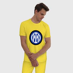 Пижама хлопковая мужская ИНТЕР ЛОГОТИП 2021 цвета желтый — фото 2