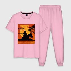Пижама хлопковая мужская Ковбой цвета светло-розовый — фото 1