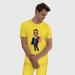 Пижама хлопковая мужская ОХРАНА SECURITY Z цвета желтый — фото 2