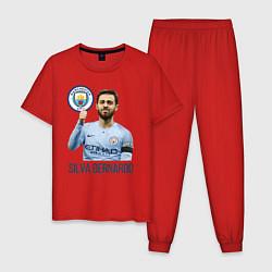 Пижама хлопковая мужская Silva Bernardo Манчестер Сити цвета красный — фото 1