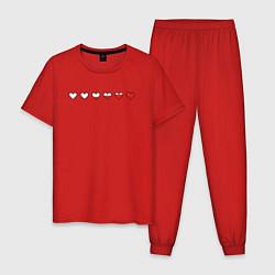 Пижама хлопковая мужская СЕРДЕЧКИ ПИКСЕЛИ Z цвета красный — фото 1