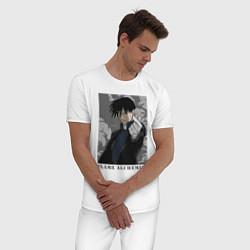Пижама хлопковая мужская Пламенный алхимик цвета белый — фото 2