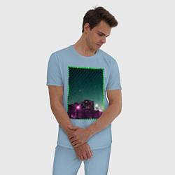 Пижама хлопковая мужская Ночной город цвета мягкое небо — фото 2