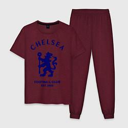 Пижама хлопковая мужская Chelsea Est. 1905 цвета меланж-бордовый — фото 1