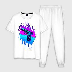 Пижама хлопковая мужская Glok 17 цвета белый — фото 1