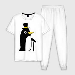 Пижама хлопковая мужская Пингвин в шляпе цвета белый — фото 1